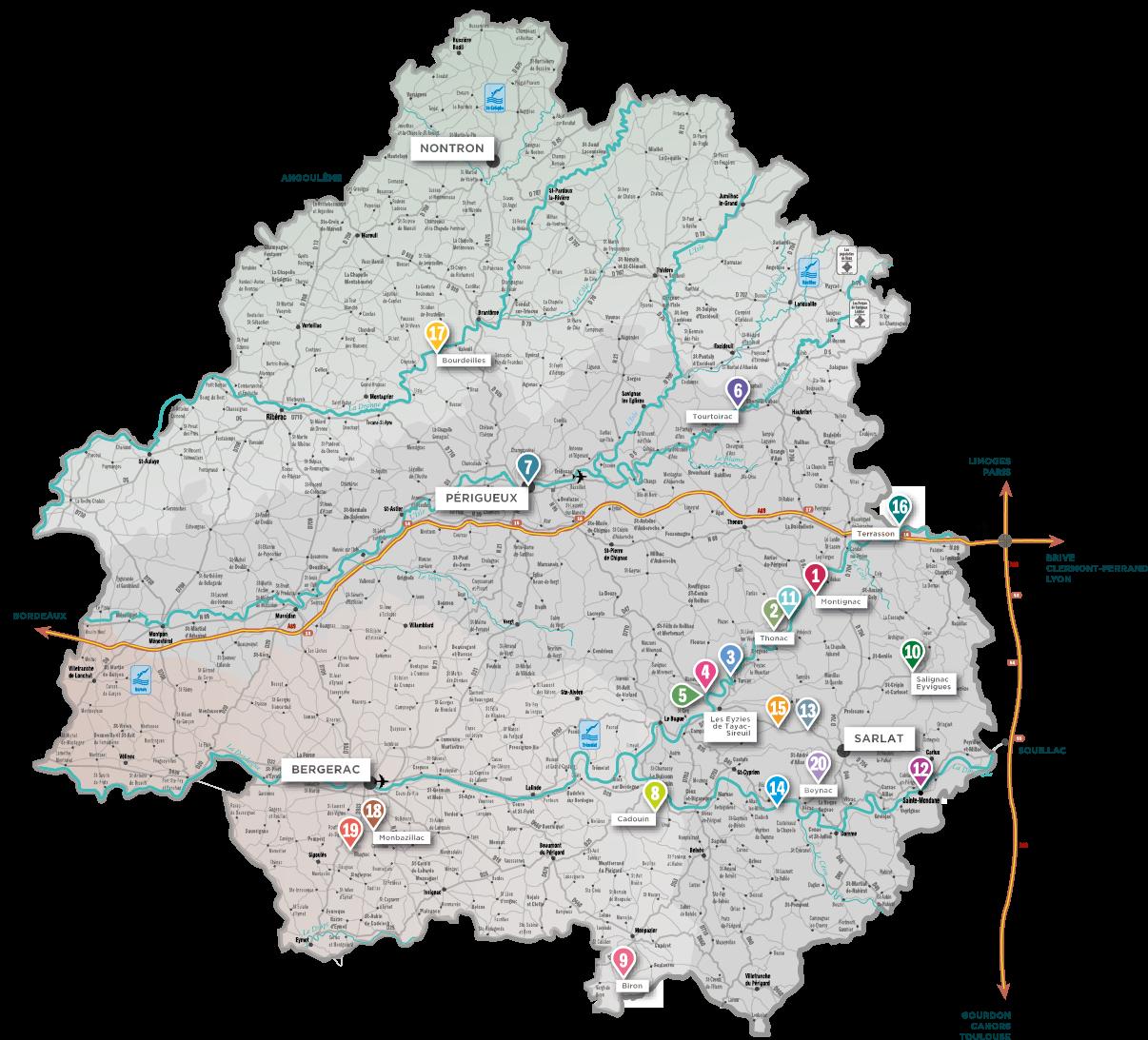 kaart regio Dordogne